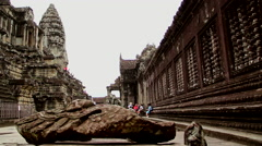 Khmer temple interior court dolly camera Stock Footage