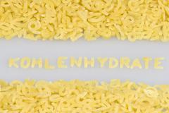 """kohlenhydrate"" (carbohydrates) written in noodle letters, pasta alphabet Stock Photos"