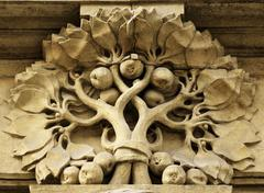 Ornate stonework on old building facade in the old part of prague, czech repu Stock Photos