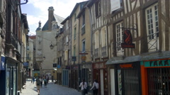 Rue Pont Aux Foulons - Rennes France - HD 4k+ - stock footage