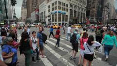 Crowd of people walking crossing intersection street time-lapse 4k - stock footage