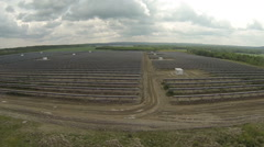 Flying over View of Newly Built Solar Energy Plant Stock Footage