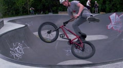 Extreme Slow Motion BMX Bike Rider - Tailwhip in Bowl - stock footage