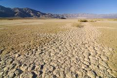 desiccation cracks, arid loam soil at stovepipe wells in death valley nationa - stock photo
