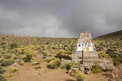 Stock Photo of top of the pass with the elevation of 4170 meters, across the andes, jama pas