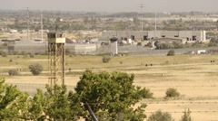 Prison tower field pan - stock footage