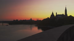 4K beautiful scene of Canadian Parliament Hill at Sunrise Stock Footage
