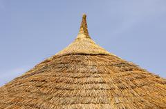 cone-shaped thatched roof of an african round hut, burkina faso, west africa - stock photo