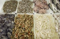 Fresh fish in a refrigerated counter, caorle, venezia, veneto, italy Stock Photos