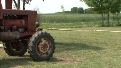 Irrigation of soybean, tractor close up Stock Footage