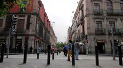 Mexico City. People walking through Regina street. Stock Footage