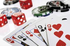 Poker game - full house Stock Photos