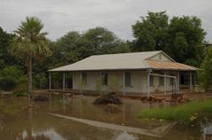 Traditional mennonite house, rainy season, filadelfia, boqueron, paraguay, so Stock Photos