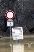 flooding of the danube river near the duino ruins, slovakia - stock photo