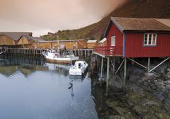 fishing lodges, fishing settlement in reine, lofoten, norway, scandinavia, eu - stock photo