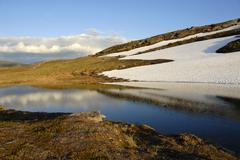 melting snow, lonely fell landscape, abisko national park, lapland, sweden - stock photo