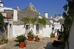 Trulli, round houses of alberobello, unesco world heritage site, valle d\'itr Stock Photos