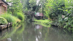 Boat trip by the channels of Spreewald the German Venice. View from the boat Stock Footage