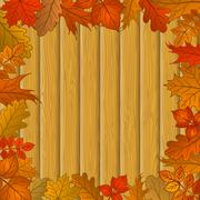 Stock Illustration of autumn leaves and wooden fence