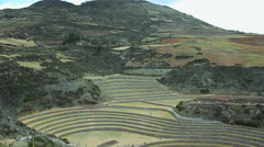 The Incan agricultural terraces at Moray, Peru Stock Footage