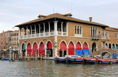 Market hall at the canale grande, grand canal, venice, venetia, italy Stock Photos