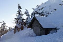chapel on mt. grosser arber, bayerischer wald (bavarian forest), lower bavari - stock photo