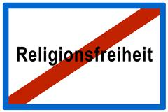 symbolic picture, no more religionsfreiheit(ger. for freedom of religion) - stock photo