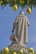 regiomontanusbrunnen fountain decorated for easter, rear view of statue of ma - stock photo