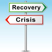 Stock Illustration of vector recovery and crisis direction sign