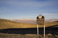 Information panel with vulcan aconcagua in the background, first morning ligh Stock Photos