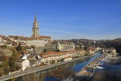 Bern - view of the old town and the aare river - switzerland, europe. Stock Photos