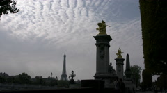 Paris Eiffel Tower from Paris Pont Alexandre III with interesting clouds 4k Stock Footage