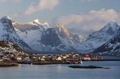 Winter landscape, reine fishing village, lofoten archipelago, norway, scandin Stock Photos
