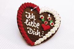 Gingerbread heart - i love you (german: ich liebe dich) Stock Photos