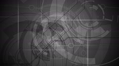 Gray tech background in the dark space. Full HD resolution. - stock footage