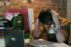 Upset student having problem with his homework Stock Footage