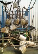 Exhausts at a junk yard Stock Photos