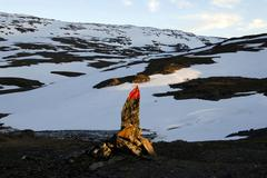 red trail marker, lonely fell landscape, abisko national park, lapland, swede - stock photo