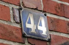Attendance in the parants house: detail and memories. house number 44 on enam Stock Photos