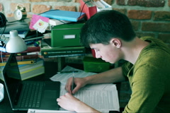 Frustrated student having problems with homework  Stock Footage
