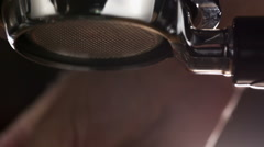Rinsing coffee machine before pouring coffee Stock Footage
