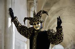 Harlekin mask at carneval in venice, italy Stock Photos