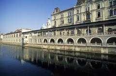 Stock Photo of plecnik arcades at the ljubljanica river, ljubljana, slovenia