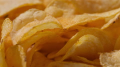 Closeup potato chips rotating loopable footage, shot in raw Stock Footage