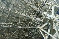 Support structures on the rear side of a parabolic antenna satellite land ear Stock Photos