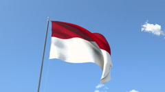 The flag of Indonesia Waving on the Wind. Stock Footage