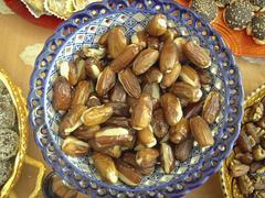 bowl full of filled dates, arabia - stock photo