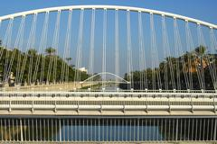 modern bridges span the rio segura river murcia levante spain - stock photo