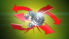 Arrows and gears on green background with alpha Stock Footage