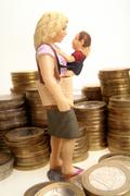 Symbolic for child allowance, alimonies for single parent Stock Photos